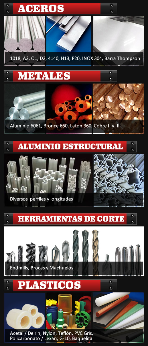 Steel and Metals - Aluminio Cold Roll Acero A2 D2 O1 4140 H13 57 PVC Cobre Bronce Barra Thompson Lexan Aceros Inoxidables Nylon Delrin en Reynosa Mexico